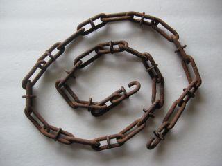 1 Antique Rusty Unusual Chain &link Hook Farm Industrial Steampunk Old Barn Find photo
