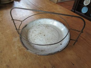 Antique Old Metal 2 Tier Pie Plate - Cooling Rack W/plate Wire Stand Pie Holder photo