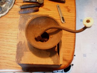 Antique Very Old Vintage Wooden Coffee Grinder Parts Some Rust Needs Restored photo