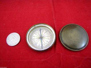 Antique Brass Pocket Compass W/ Lid. photo