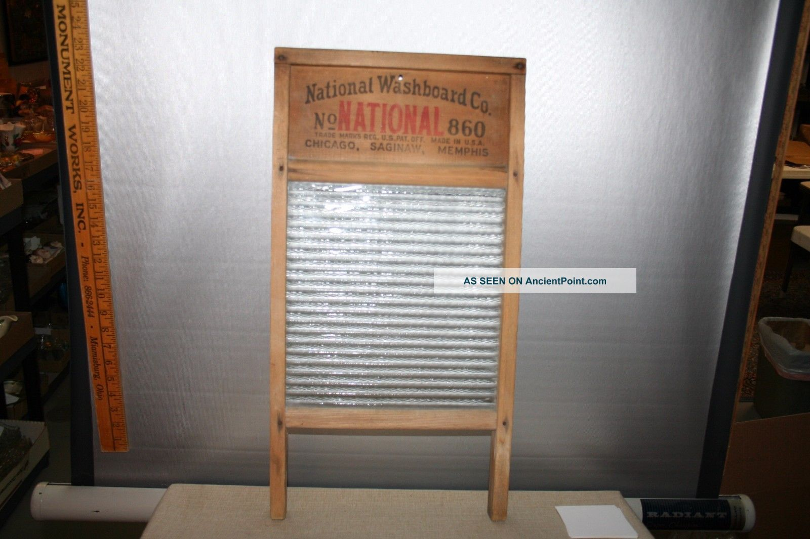 Glass King 860 Wood & Glass Washboard With Front Drain National Washboard Co Washing Machines photo