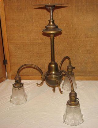 Antique Art Deco Chandelier Ceiling Light Fixture 3 Perkins Socket Brass Bronze photo