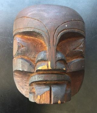 Antique Authentic Native American Northwest Coast Wood Mask 4.  5