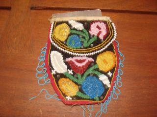 1800 Very Old Woodland Native American Beaded Tobacco Bag Ne Usa photo