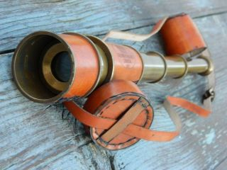 Kelvin & Hughes Spyglass Telescope With Leather Carry Case Hot photo