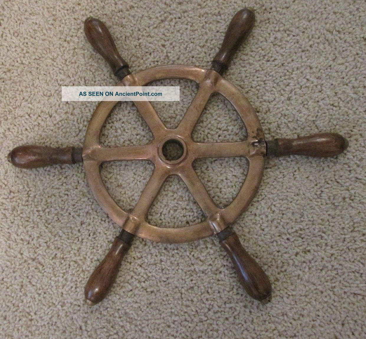 Vintage Brass Ship Steering Wheel With 6 Wood Handles Wheels photo