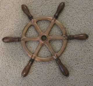 Vintage Brass Ship Steering Wheel With 6 Wood Handles photo