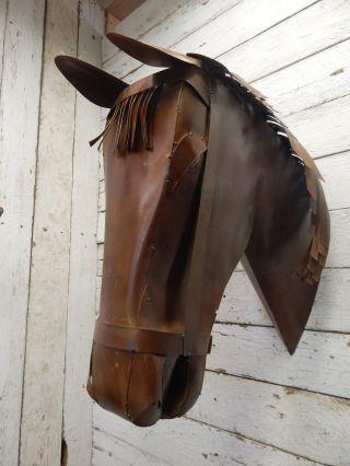 Handmade Scrap Metal Horse Head Plaque Taxidermy Cowboy Western Rustic Decor photo