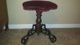 Antique Stool Cast Iron Base Piano/organ/vanity/desk/sewing photo