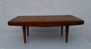 Nelson Style Table Mid Century Modern Danish Slat Surf Board Bench Coffee Table photo