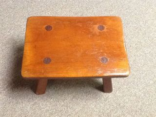 Vtg Wood Wooden Cushman Cricket Stool 9038 Colonial Creation Foot Milking Step photo