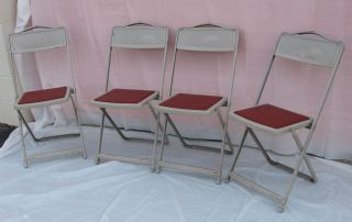 4 Vintage Mid Century Metal Industrial Folding Chairs Shabby Retro Eames photo