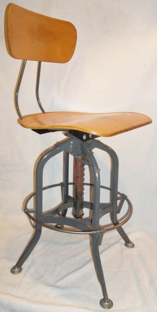 Vintage Toledo Uhl Spider Leg Adjustable Ht.  Swivel Drafting Stool photo
