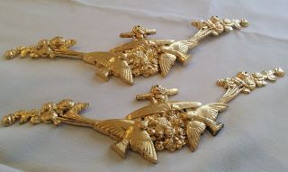Antique French Pair Bronze Ormolu Gild Furniture Decoration Mounting Onlay photo
