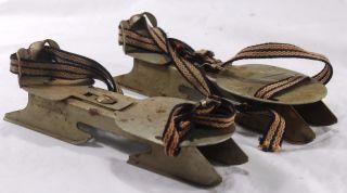 Antique Metal Ice Skates Straps Vintage Shabby Primitive Rustic Decor 180704 photo
