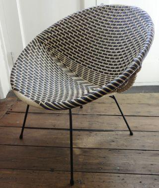 Vintage Black & White Pot Chair - Metal Frame - 1950 ' S - Retro photo