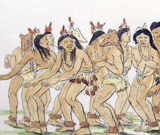 1842 Geo Catlin Handcol Eng Native American Indians - 25cm - Bear Dance photo