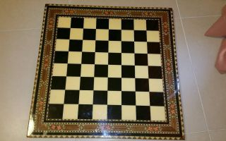 Vintage Antique Wood Chess Checker Board Table Top.  Rare photo
