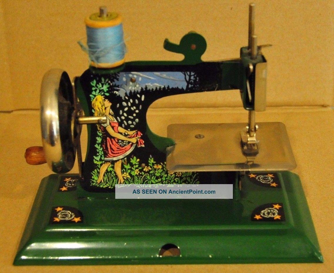 Antique Toy Sewing Machine - Schuerhoff Gold Rain - Rare Sewing Machines photo