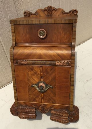 Best 1940 ' S Vntg Ornate Art Deco Waterfall Nightstand W Bakelite Knobs photo