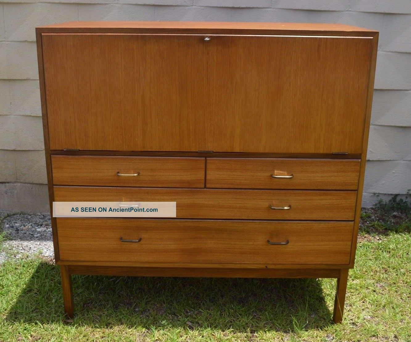 Teak Mid - Century Modern Scandinavian Design Sideboard Drop Front Desk 4 Drawers Post-1950 photo