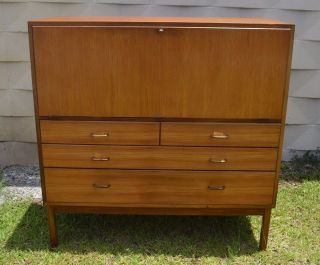 Teak Mid - Century Modern Scandinavian Design Sideboard Drop Front Desk 4 Drawers photo