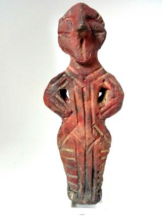 Extremely Rare Ancient Anthromorphic Neolithic Vinca Clay Idol 5000 B.  C. photo