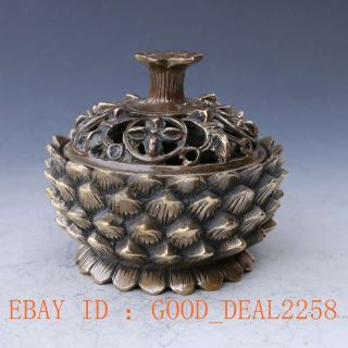 Chinese Brass Handwork Carved Lotus Incense Burner & Hollow Lid photo
