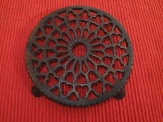 Antique Round Footed Cast Iron Ornate Victorian Stove Top Table Trivet photo