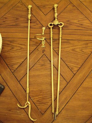 Virginia Metalcrafters Colonial Willamsburg Fireplace Tools With 1606 Jamb Hook photo