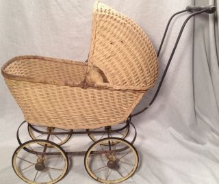 Antique Wicker Baby Carriage Buggy Doll 20 ' S - Vintage Old Stroller Buggie photo
