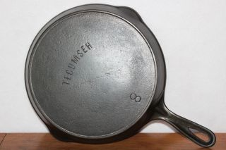 Antique Unusual No.  8 Tecumseh W/ Erie (griswold) Ghost Mark Cast Iron Skillet photo