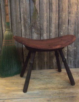 Rare Early Antique Primitive Bent Curved Old Wood Foot Stool Bench Aafa photo