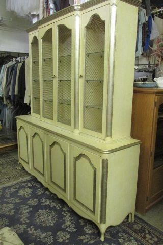 Vintage Antique French Provincial China Cabinet Hutch photo