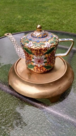 Fine Antique Floral Cloisonne Meiji - Era Cloisonne Teapot C.  1890 Japanese photo