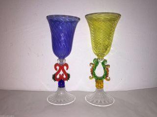 2 Murano Bimini Style Wine Glass Blue Yellow Stemware Bar Sherry Mid Century Bd photo