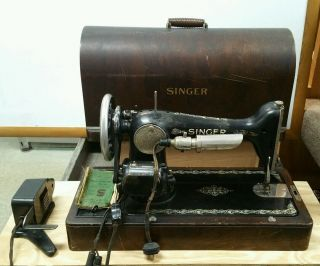 Antique 1926 Singer Sewing Machine 66 With Wood Case Electric Aa433836 photo
