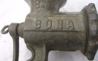 Antique German Kitchen Meat Grinder Iron Cast Enameled Bona 8 Marked photo