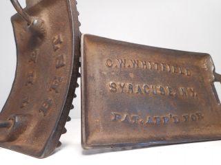 Antique C.  W.  Whitfield Patent Applied For Hand Rocker Fluting Sad Iron Rare photo