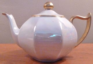 Vintage Zeh Scherzer Small Iridescent White Teapot With Gold Trim - photo