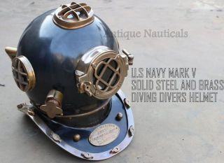 Antique Deep Sea Diving Divers Helmet Steel And Brass U.  S Navy Model Mark V photo