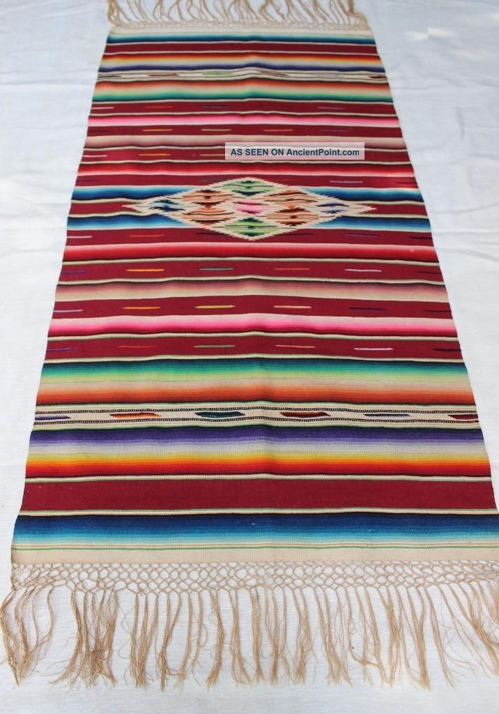 Awesome Vintage Mexican Saltillo Serape Blanket /textile / Shawl/ Table Runner Wool photo