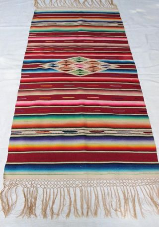 Awesome Vintage Mexican Saltillo Serape Blanket /textile / Shawl/ Table Runner photo
