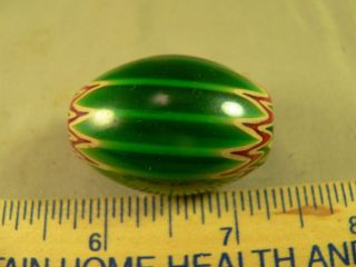 Old Chevron Glass Trade Bead Green Color Good Patina & Wear photo