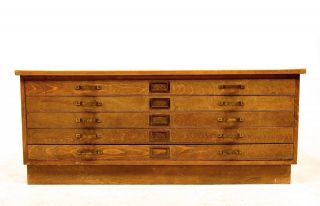 Vintage Oak Plan Chest Architects Mid 20th Century A1 A0 Large Deco photo