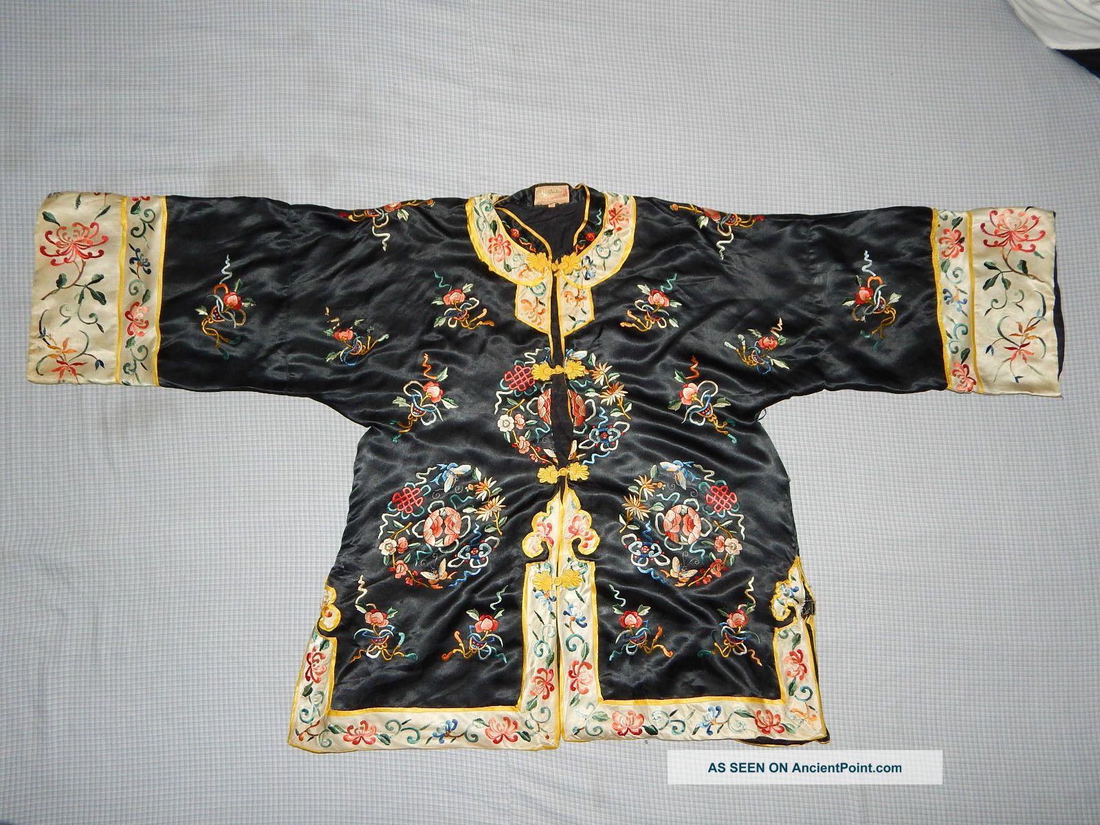 Antique Chinese Silk Embroidered Women ' S Robe Kimono Dress Textile Textiles photo