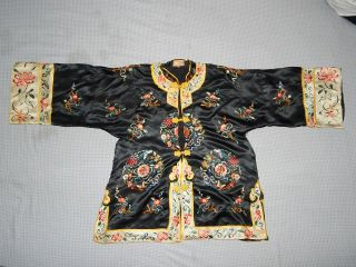 Antique Chinese Silk Embroidered Women ' S Robe Kimono Dress Textile photo