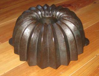 Very Rare Old Antique Cast Iron Bundt Pan Germany 3458 G Diameter 27 Cm photo