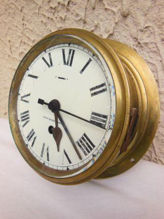 Antique Nautical Steampunk Round Brass Clock F W Elliott England photo
