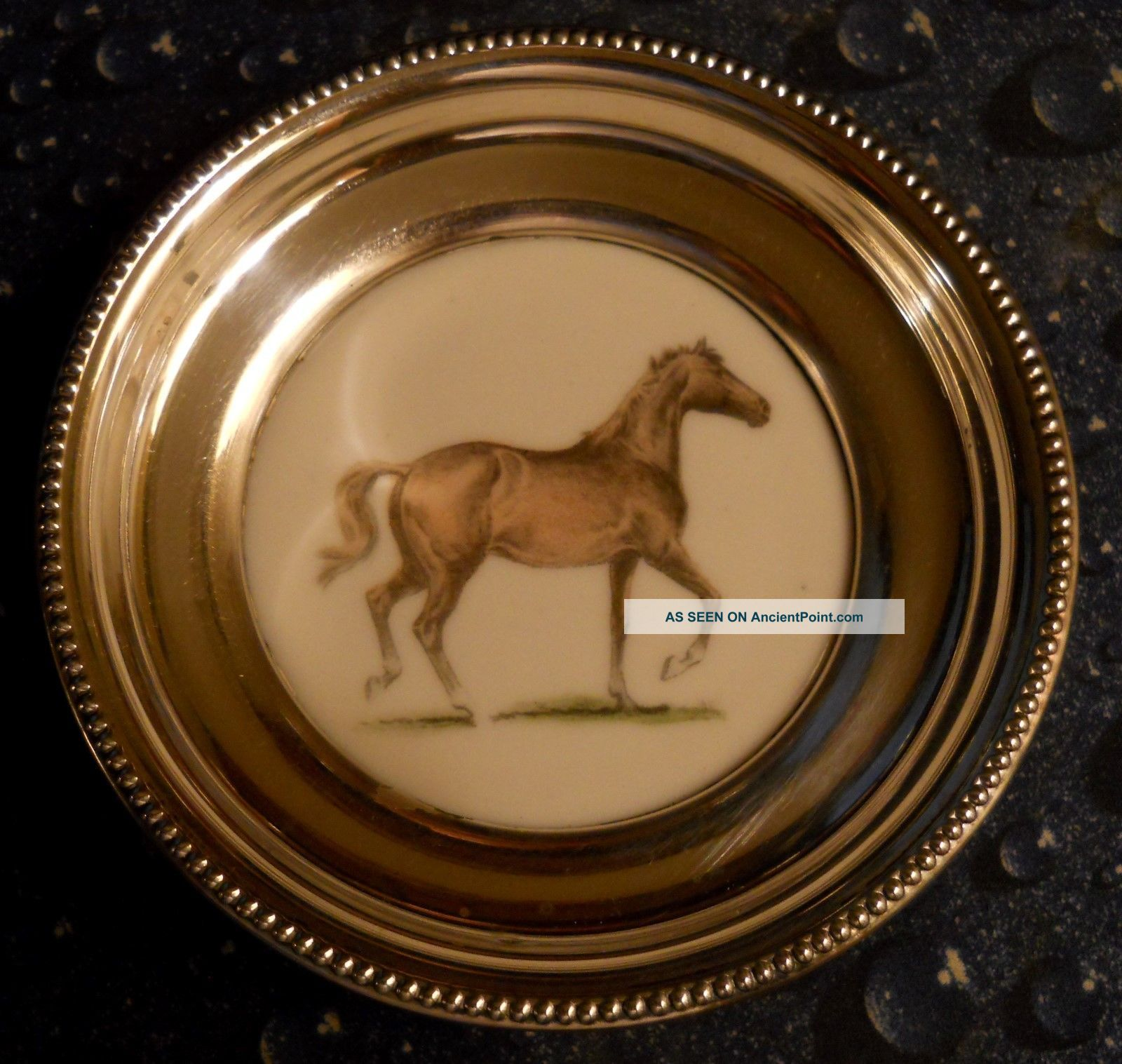 Vintage Race Horse Man - Of - War Sam Savitt Frank Whiting Sterling Silver Coaster Dishes & Coasters photo